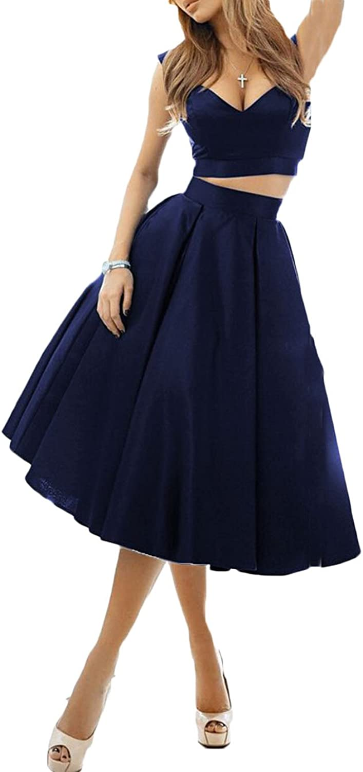 Ri Yun Sexy Off The Shoulder 2 Pieces Satin Homecoming Dresses Short Prom Dresses Formal Evening Party Dresses for Women 2018