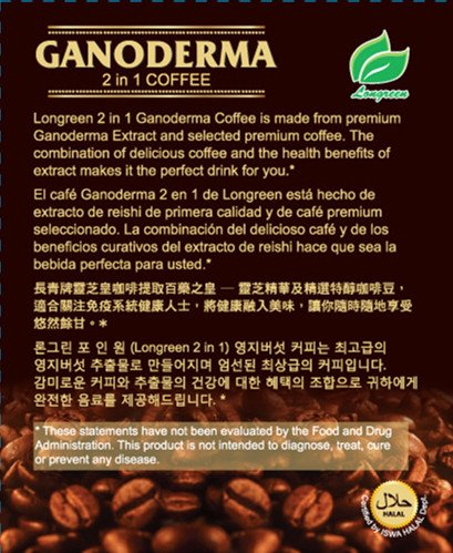 Ganoderma Coffee - Reishi Coffee Mix- Instant 2-in-1 Mushroom Coffee. All Natural Ganoderma Lucidum With Instant Coffee. A Non Sugar Dietary Supplement To Replace Regular Coffee - 30 sachets