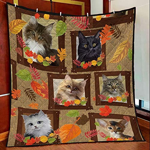 Cat Autumn Beauty Leaves Quilt Blanket Outdoor Picnic Beach Blanket Twin Throw Queen King Size Bed Quilts Best Decorative for Bed, Couch, Sofa, Chair, Swing, Daybed, Home Decor