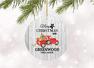Christmas Ornaments 2019 Christmas Tree Greenwood Indiana Xmas Decorations Gift Idea Rustic Holiday Tree Ceramic Unique Home Sweet Home State Decoration Anniversary 3