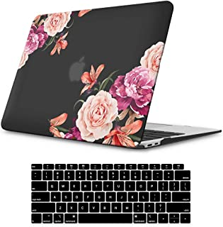 iLeadon MacBook Air 13 Inch Case 2020 2019 2018 Release A1932, Soft Touch Ultra Thin Hard Shell Cover for Apple Newest MacBook Air 13 Inch with Retina Display fits Touch ID, Peony Flower