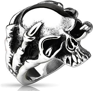 316l anillo de acero inoxidable Biker masivamente rocker Chopper motocicleta metal plata caballeros