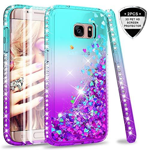 LeYi Hülle Galaxy S7 Edge Glitzer Handyhülle mit Full Cover 3D PET Schutzfolie(2 Stück),Diamond Rhinestone Bumper Schutzhülle für Case Samsung Galaxy S7 Edge Handy Hüllen ZX Gradient Turquoise Purple