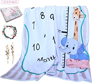 Baby Monthly Milestone Blanket, Personalized Calendar Multi-Use Blanket,Photography Background Prop,Newborn Blanket Milestone,Soft Fleece Wrinkle-Free,Bonus Wreath & Headdress 47x47 inch