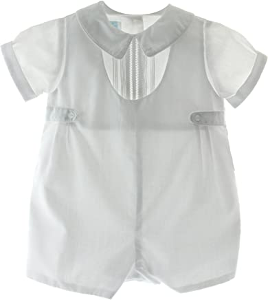 76ff0a2975ab Hiccups Childrens Boutique Boys White Christening Romper Outfit Peter Pan  Collar Poly Cotton