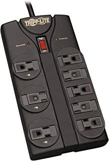 Tripp Lite TLP808B 8 Outlet Surge Protector Power Strip, 8ft Cord Right Angle Plug, Black, Lifetime Insurance