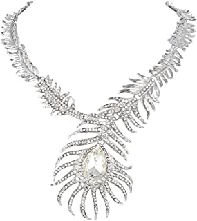 Vintage Style Peacock Feather Teardrop Statement Necklace Austrian Crystal