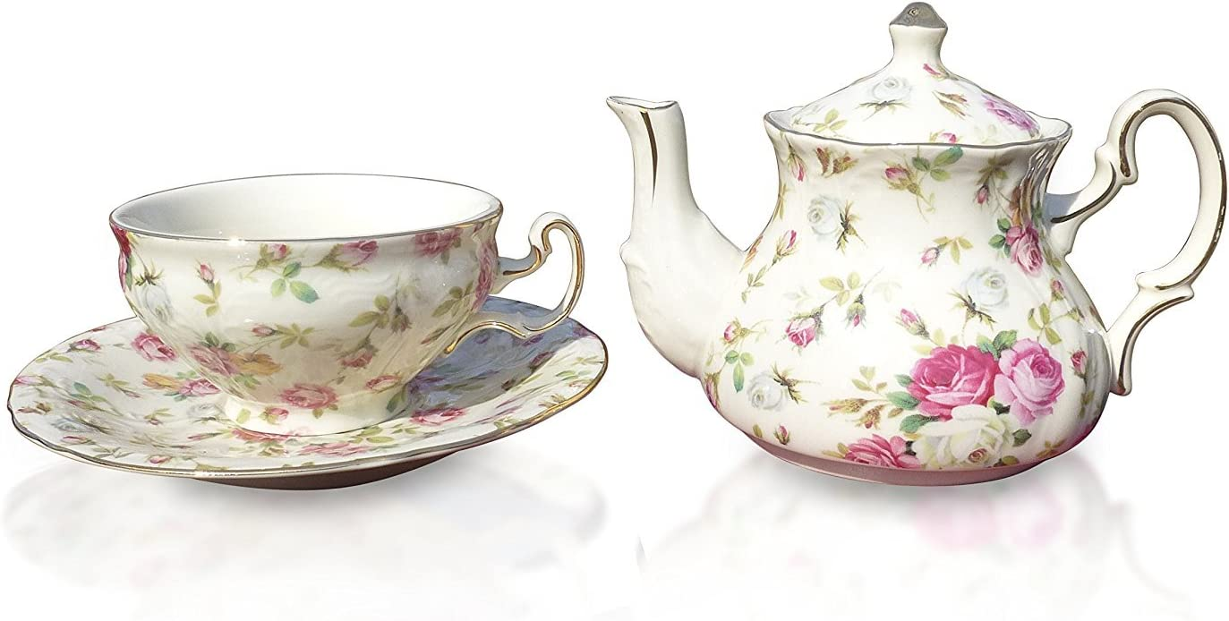 Elizabeth Park Floral Long Beach Mall Rose Chintz Tea Cup Set S 1 Chicago Mall for Porcelain