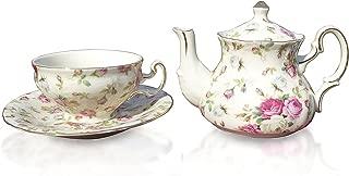 Elizabeth Park Floral Rose Chintz Tea Set for 1 Porcelain Cup, Saucer, Teapot