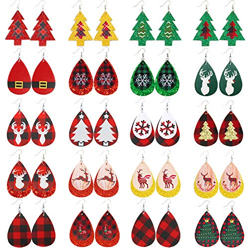 20 pairs Christmas Earrings Plaid Earrings Christmas Tree Earrings double Layered earrings Plaid Leather Earrings Double layer Faux Leather Dangle Earrings for Women Girl Teardrop Earrings