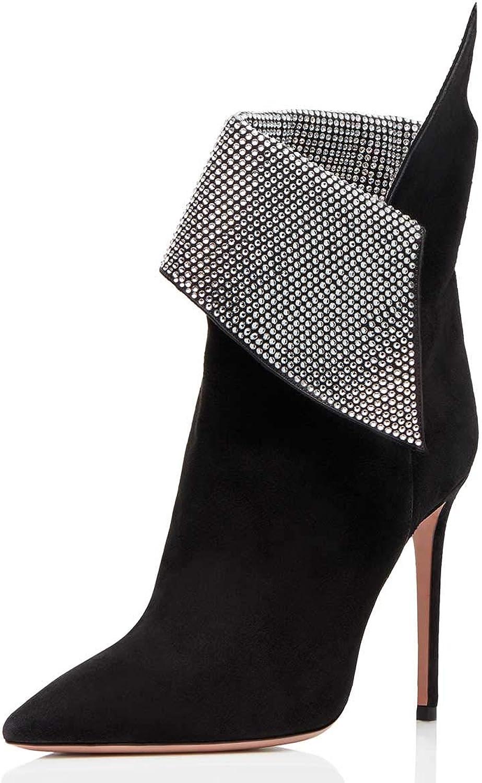 FSJ Kvinnor Sexiga Stiletto High klackar Ankle stövlar Pointy Pointy Pointy Toe Pumpar Rhinestones Faux mocka skor Storlek 4 -15 USA  billigare priser
