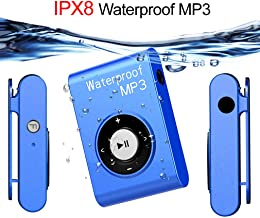 $77 » QYXM Waterproof Mp3 Player for Swimming, 8GB Underwater Music Players with Clip, Support Shuffle Mode and 15 Hours Playrback/ IPX8 Waterproof Level for Surfing/Swimming