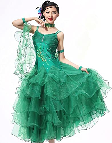 QCBC Mode Femme sans Manches Bracelet en Robe de Luxe de Diahommets de Danse à Jupe de rendement Robe de Valse Tango de Salon de Danse de Jupe Vert Jaune Brillant Noir