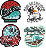 24-7stickers MG401 4X Aufkleber Surfer Surf Bus Bulli USA Beach Surfing Boaord Hawaii Oldtimer Old...
