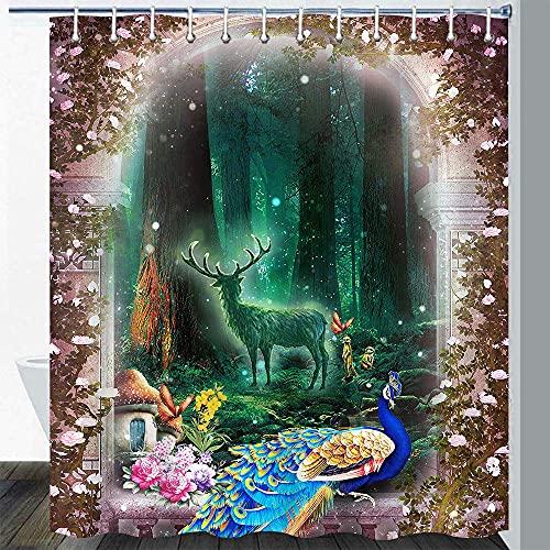 Dschungel Tier Duschvorhang Zauberwald Hirsch Pfau Schmetterling Pilz Böhmische Blume Pflanze Retro Holztür Bunte Abstrakte Kunst Badezimmer Vorhang Set mit 12 Haken 72x72In
