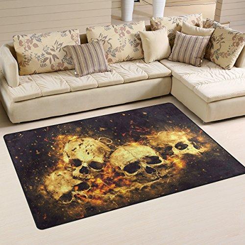 yibaihe leicht bedruckt Bereich Teppich Teppich Fußmatte Dekorative Skulls und Knochen wasserabweisend leicht zu reinigen für Wohnzimmer Schlafzimmer 153 x 100 cm