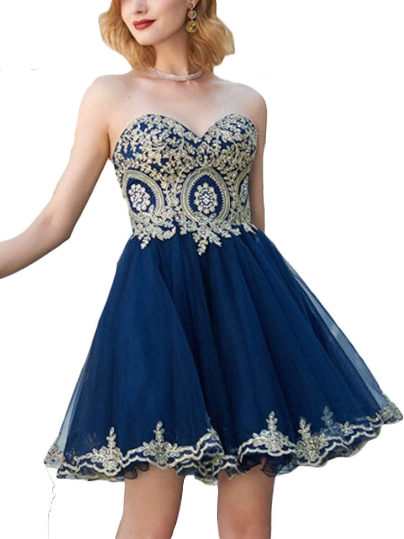 CL Bridal Women's gold Appliques Strapless Cocktail Dress Short Bat Mitzvah Gown