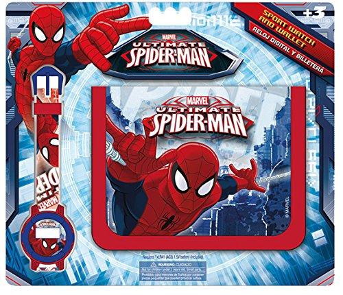 Kids–Spiderman, Set Brieftasche und Digital-Uhr (mv16072)