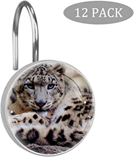 Idealiy Animal Snow Leopard Shower Curtain Hooks Rings Set of 12 Resin Shower Hooks