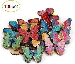 Bottoni decorativi a forma di farfalla per lavori fai da te lavori a maglia 150 pezzi in legno