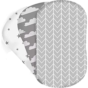 2X Cream FYLO Moses Basket Jersey Fitted Sheet 100/% Cotton 76x28cm 2X Midnight Grey Star