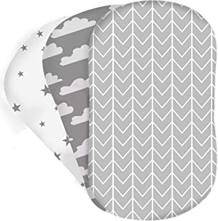 Bear's Little Fish 3-Pack of Bassinet Sheets | 100% Hypoallergenic Jersey Cotton | Gender Neutral Grey and White for Baby ...