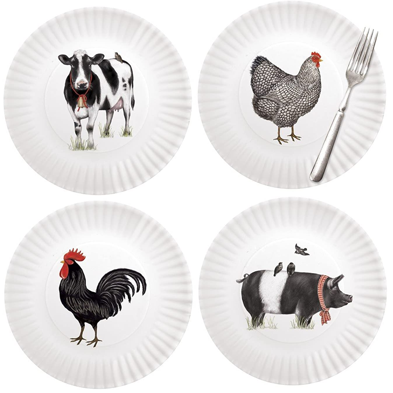 Mary Lake-Thompson Farmhouse Animals 9-inch Melamine Plates, Set of 4