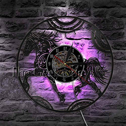 LTOOD 1 stuk Bloemen Mandala Paard Vinyl Record Wandklok Dieren Muur Art Creatieve Uurwerk Muur Horloge Kamer Decor