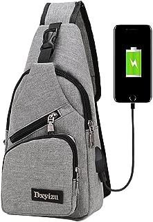 Crossbody Bag,Realdo USB Charging Port Outdoor Sports Casual Canvas Unbalance Backpack Messenger Sling Shoulder