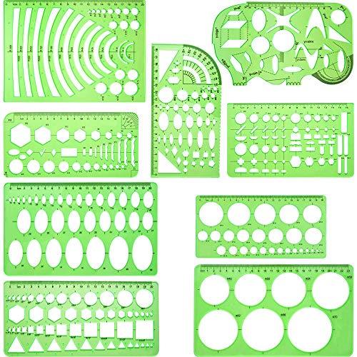 9 Stück geometrischen Schablonen, Architektur Zeichnungen Vorlagen, Gebäude Schalung, Zeichnungen Schablonen Werkzeug, für zu Hause, Schule oder Büro