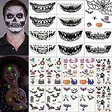 Kuubee 20 Hojas Tatuajes Temporales Impermeables para Halloween Fiesta, 90 Diseños de Pegatinas Engomadas de la Boca, Luminosas del Murciélago/Historieta, Tattoo para Niños Adultos Hombres y Mujeres