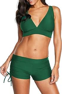 Halter Bikini Set with Boyshort Push Up 2 Piece Swimsuit Bating Suit for Women