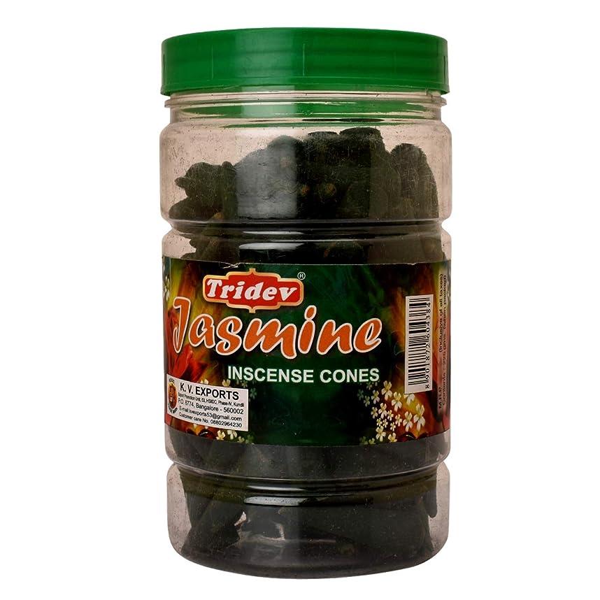 接触朝食を食べる反逆者Tridev Jasmine Incense Cones Jar 225グラムパック