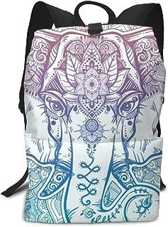 Laptop Backpack Floral Paisley Elephant Head School Back Pack Rucksack Daypack for Women Men