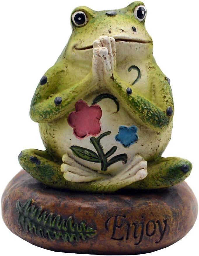 Novelty Yoga Frog Figurine-Frog Sitting On Enjoy Stone Sculptures Office Outdoor Decor Garden Statue