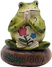 HoDrme Novelty Yoga Frog Figurine-Frog Sitting On Enjoy Stone Sculptures Office Outdoor Decor Garden Statue