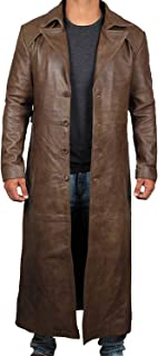 Winter Trench Coat Men - Distressed Black Genuine Leather Long Overcoat