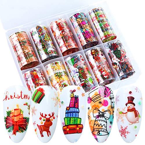 Christmas Nail Art Foil Stickers Nail Art Decals Xmas Winter Nail Supplies with Snowman Christmas Tree Snowflake Santa Claus Bell Design DIY Decorations Fingernail Toenail (10 PCS,1Box)