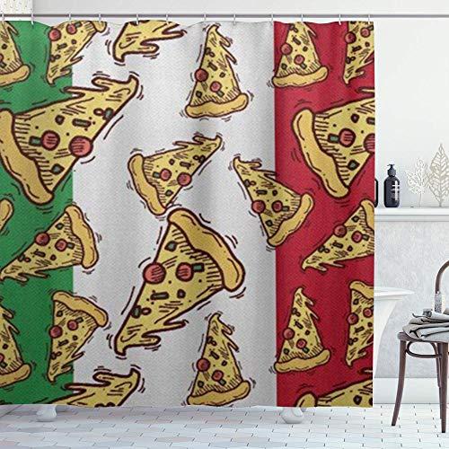 DYCBNESS Duschvorhang,Pizza Slice Italien Flagge Italienisches Essen,Vorhang Waschbar Langhaltig Hochwertig Bad Vorhang Polyester Stoff Wasserdichtes Design,mit Haken 180x180cm