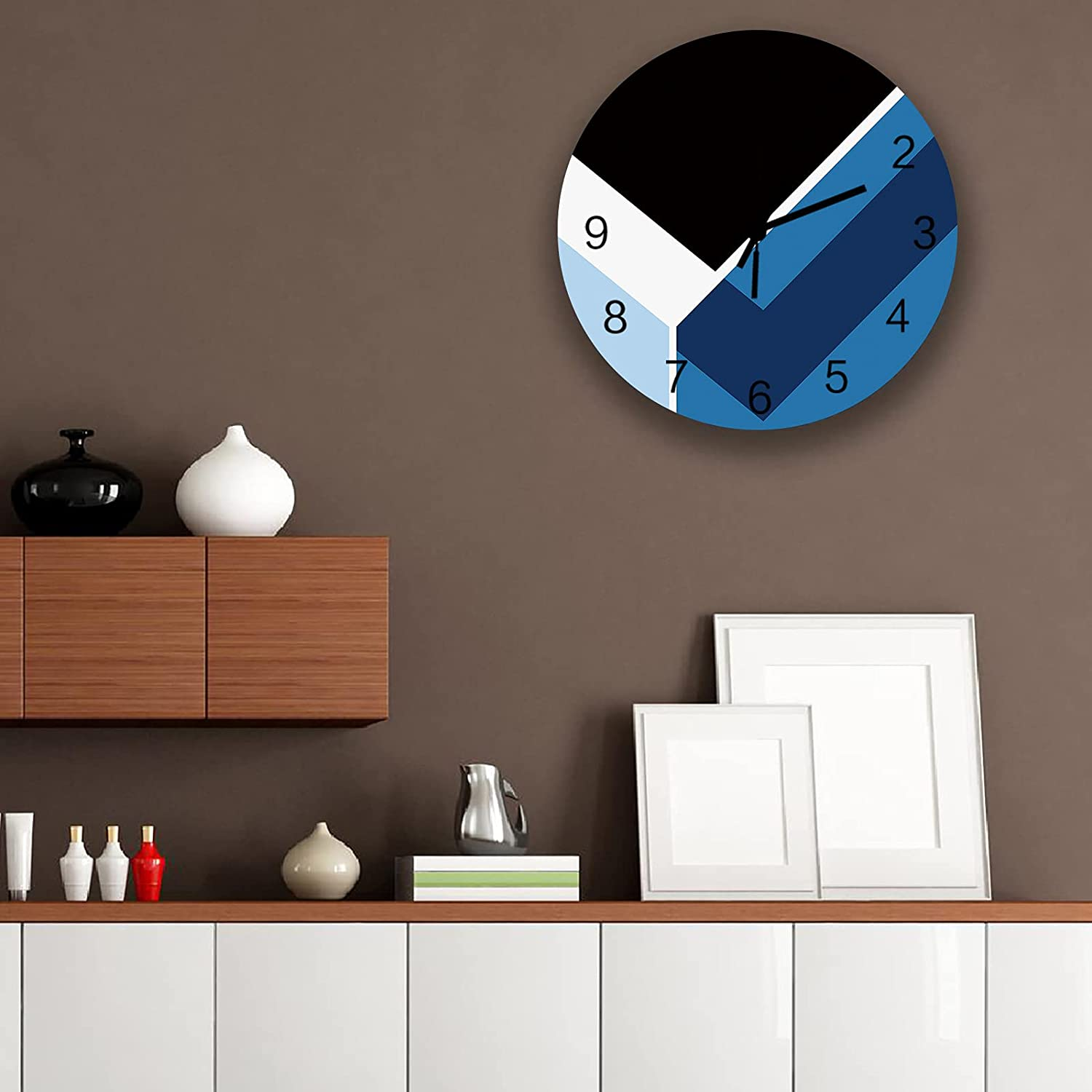 Wooden Wall Clock Round Non Ticking Blue Abstract Clocks Large discharge sale Award Geometr