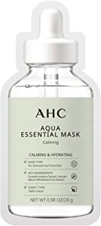 AHC Face Mask Aqua Essentials Hydrating and Claming For Stressed and Tired Skin Calming 100% Cotton Sheet 5 Count