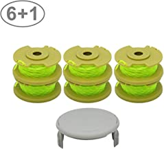 YUEFENG 6 Pack String Trimmer Replacement Spools Compatible with Ryobi One Plus+ AC80RL3 for Ryobi 18v, 24v, 40v Cordless Trimmers 11ft 0.080 Inch Twisted Line + 1 Pack Spool Cap (6 Spools, 1 Cap)