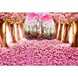 Leowefowa 2,2x1,5m Vinilo Primavera Telon de Fondo Floración Rosa Flor De Cerezo Petales Castillo de Cuento de Hadas Fondos para Fotografia Party Photo Studio Props Photo Booth