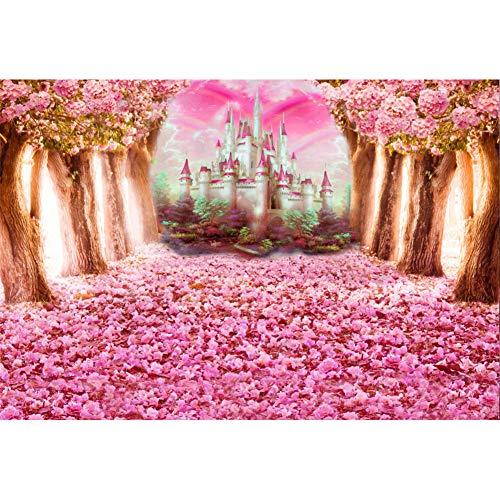 Cassisy 2,2x1,5m Vinilo Primavera Telon de Fondo Floración Rosa Flor De Cerezo Petales Castillo de Cuento de Hadas Fondos para Fotografia Party Photo Studio Props Photo Booth