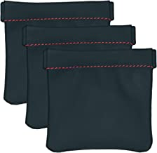 Livder Earphone Pouch, PU Leather Headphone Storage Bag with Snap Spring Closure, Pack of 3