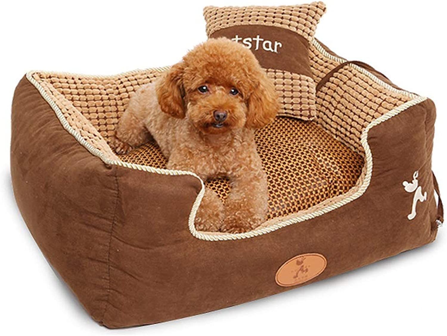 Dog Bed, Winter Keep Warm Soft Waterproof Washable Not Sticky Hair Pet Basket Mat Cushion With Pillow Small Medium Large XL (Size   M)