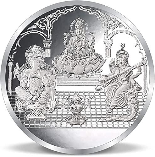 Dhrita Aupacious Lord Ganeshaji Laxmiji & Saraswatiji BIS - Moneda con sello de sello puro 999 20GM para regalar y puja con caja de bloqueo de imán de welvet rojo