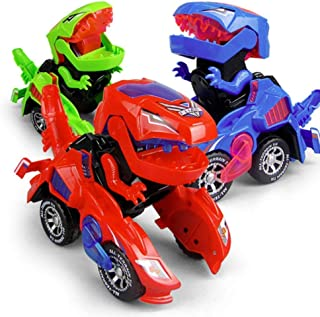 HENGBANG Transforming Toys, Dinosaur Cars Combined Into One,Automatic Transformation, Transformation of Dinosaur LED Cars, Lamps (Red)