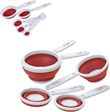 Progressive International Set of Collapsible Measuring Cups and Spoons, Red
