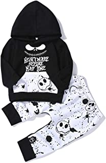 2PCs Toddler Infant Baby Boys Clothes Nightmare Long Sleeve Hoodie Tops Sweatsuit and Skull Pants Halloween Outfit Set